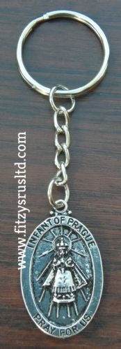 Infant of Prague Keyring Key Ring Holy Religious Oval Jesus Sacred Charm